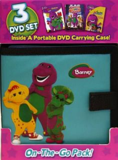 Barney On the Go Pack DVD, 2010, 3 Disc Set, With Carrying Case