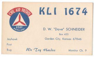 QSL CB Radio Card Kansas KS Garden City Civil Air Patrol USAF