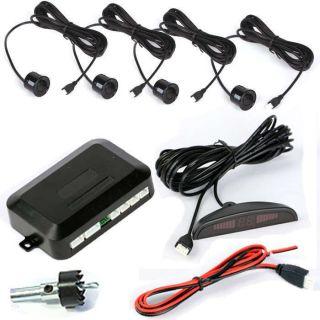 LED Car auto Reverse Backup Radar KIT 4 Parking Sensors SENSOR system