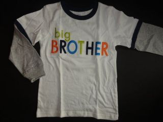 NWT Carters Big Brother 5 6 7 T shirt Top New White Long Sleeve