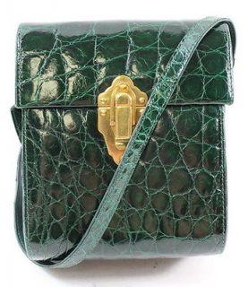 VNTG DESIGNER Green Alligator Push Lock Camera Bag Crossbody Handbag