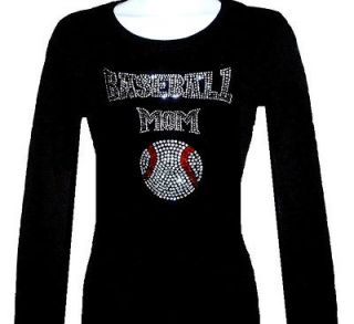 RHINESTONE BASEBALL MOM LONG SLEEVE T SHIRT,BLACK SIZES,M,L,XL,​HOT