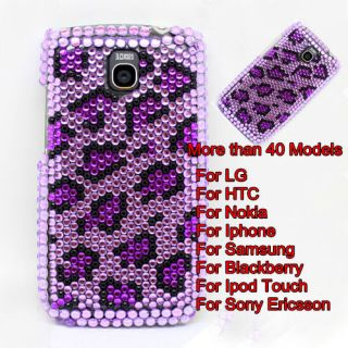 Leopard Crystal Bling Diamond Back Case Cover For Mobile Cell Phone #B