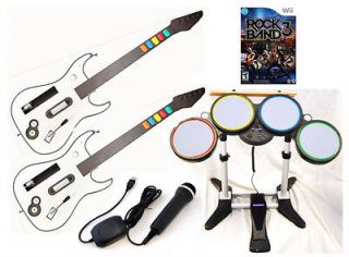 NEW Nintendo Wii ROCK BAND 3 Game Set w/2 GUITARS Wireless Drums