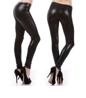 New! Fantastic SHINY Metallic Black Leather Leggings Sexy Tights Pants
