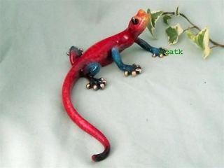 GECKO LIZARD~Multicolored GOLDEN POND~Hand Painted RESIN Sculpture