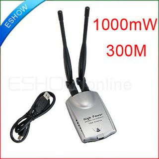New 300Mbps WiFi Wireless Network Card Adapter 1000mW USB 150M 2