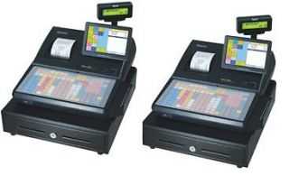 PAIR (LOT) OF SAM4S ECR 530 TOUCH SCREEN HYBRID POS CASH REGISTER   2