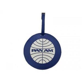 Pan Am Blue Round Luggage Tag Bag Vintage Original Small Panam Tags