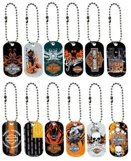 Harley Davidson Dog Tag Keychains Set of 12 Dog Tags
