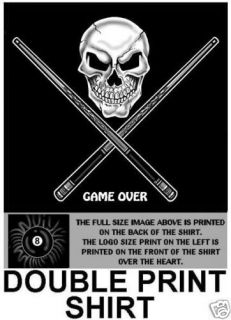 GAME OVER SKULL CROSSED CUE STICK POOL 8 BALL T SHIRT D