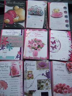 BIRTHDAY CARD With Age 18 to 80 ~ DAUGHTER, SISTER, MUM, WIFE, NIECE