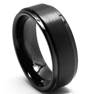 8mm Black Tungsten Carbide Wedding Band Ring with Step Down Edges