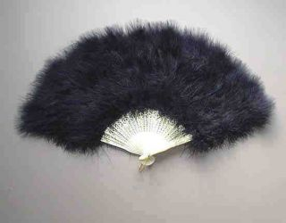1x Large Black Feather Folding Hand Fans Fancy Dress Party Wedding