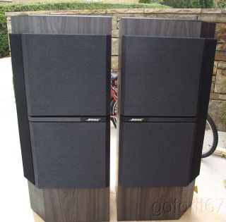 Vintage Bose stereo speakers, model 4001, grey wood finish, grills are