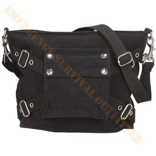 Vintage Black Canvas Laptop Bag Cross Shoulder Crossbody Messenger