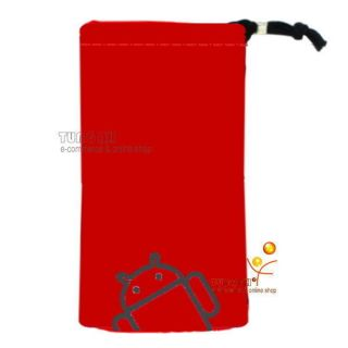 Red Android Velvet Pouch Bag Case For Sony Xperia Arc S neo ZTE V880E