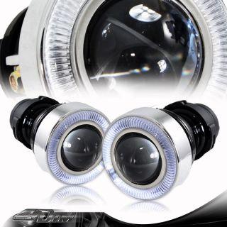 Universal 3 White Angel Eyes Bumper Projector Round Fog Light Lamp
