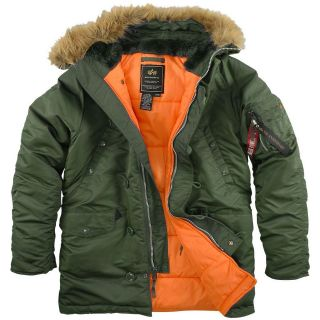 Alpha Genuine N 3B Slim Fit Parka Sage Green/Orange   Metal zipper