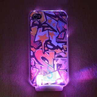Graffiti LED Color Changed Sense Flash Light Case Cover for iPhone 4
