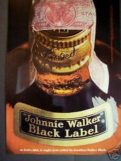 Black messenger bag back pack with Johnnie Walker logo new double