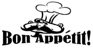 Bon Appetit Wall Quote Home Decor Decal Kitchen Chef