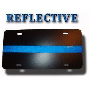 Thin Blue Line Metal Reflective License Plate New
