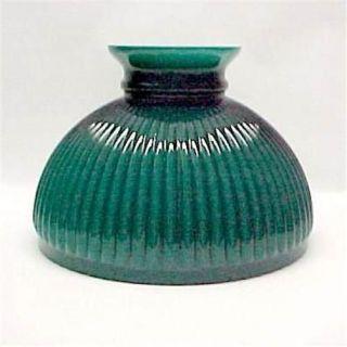 Aladdin 10 Ribbed Green Glass Kerosene Oil Lamp Shade Student Desk