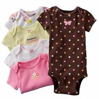 NWT Carters Baby Girl Clothes 5 Bodysuits Brown Pink Green 3 6 9 12 18