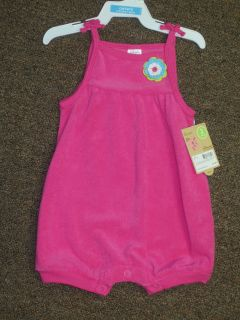 Carters Infant Girls Magenta One Piece Sun Romper Terry Cloth Fabric
