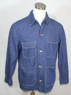 vtg BLUE BELL BLUE WRANGLER DENIM WORK CHORE JACKET COAT sz L 42
