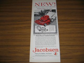 1958 Vintage Ad Jacobsen Turbo Vac Rotary Power Mowers Racine,WI