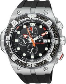 CITIZEN PROMASTER ECO DRIVE AQUALAND CARBON CHRONO METRIC DIVE WATCH