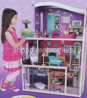 Level Dollhouse + 11 Furniture Girls Doll House City Lights Large