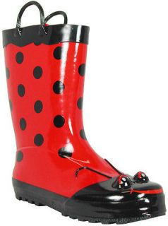 Western Chief   Womens Red Ladybug Rubber Rain Boots Size 8 NEW Lady