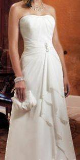 Destination Chiffon White Wedding Dress / Gown Sz 16 Strapless w