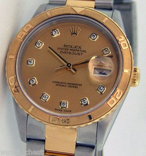 Men DateJust 36mm Thunderbird Champagne Diamond Dial 16263 Watch Chest