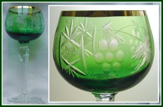 EMERALD GREEN Wine Glass Goblet Hock CUT TO CLEAR CRYSTAL Gilt Traube