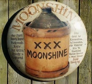 Moonshine Round Tin Metal Sign Americana Vintage Look Country Kitchen