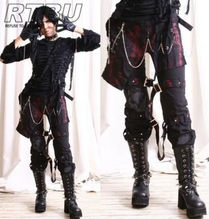 Industrial Gothic Punk Red Metal Rusty Gear Pants w/ Hip Wrap & Gloves