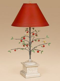 Cherry Tree Lamp   Light   Folk Art   Painted   Table Lamp   Primitive