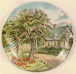 Vintage AUTUMN CURRIER & IVES PORCELAIN PLATE Artmark