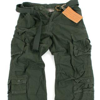 BNWT Men VINTAGE CARGO Belted PANTS P036 Khaki 34