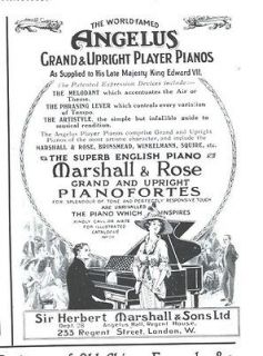 ad angelus grand upright player pianos king edward marshall rose