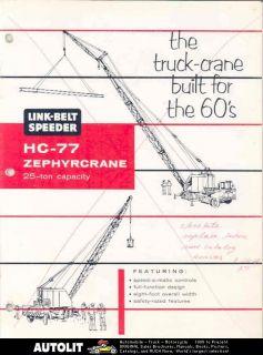 1964 Link Belt Speeder 25Tn Zephyr Truck Crane Brochure