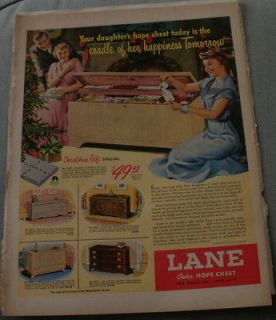 Lane Cedar Hope Chest Original Ad 1950 10x13