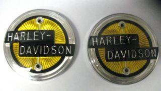 1958 NEW HARLEY DAVIDSON GAS TANK EMBLEMS NAMEPLATE, 61773 58T
