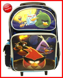 ANGRY BIRDS SPACE BLUE LARGE ROLLER ROLLING BACKPACK SCHOOL BAG 16