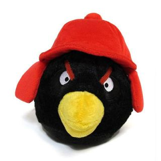Angry Birds 5 Plush Black Winter Bird with Red Trapper Hat New with