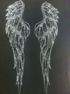 WOMEN SILVER RHINESTONE ANGEL WINGS V NECK SHIRT $12.99